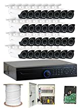 GW Security 32 Channel DVR 2.1 Megapixel HD-TVI 1080P Security Camera System with (32) x True HD 1080P Waterproof 2.8-12mm Varifocal Zoom Bullet Security Camera