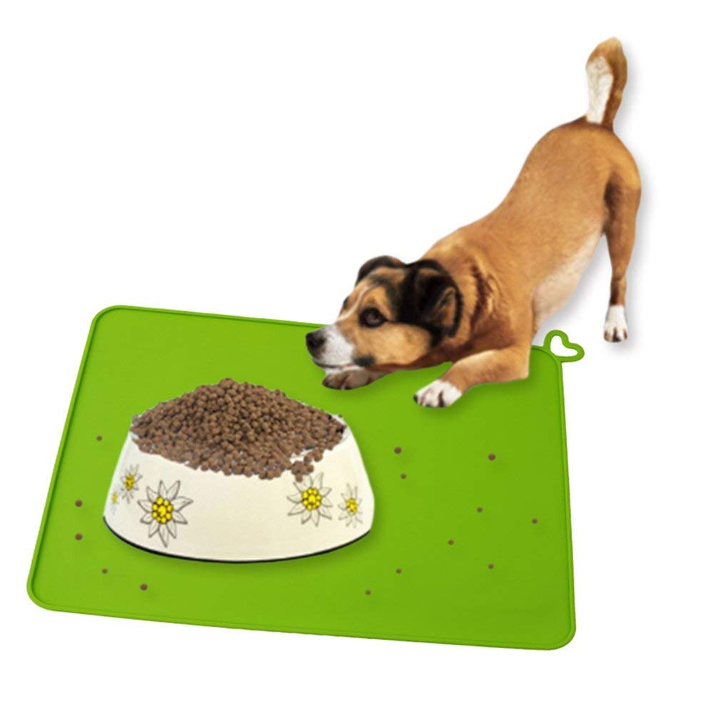 Yevison Silicone Pet Feeding Mat Pet Dog Cat Food Mat Placemat, Protects Your Floors from Food and Water Spills, Green