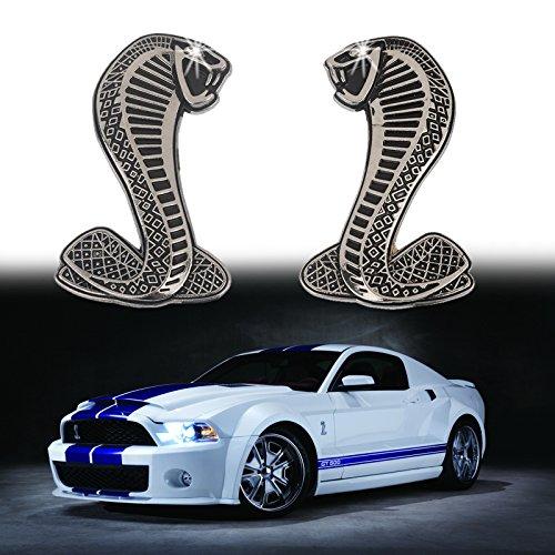Xotic Tech 2x Cobra Snake Emblem Chrome Metal Door Fender Badge Stickers for Ford Mustang (Cobra Fender Emblems)