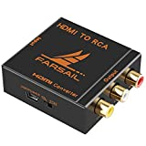 FarSail HD 1080p HDMI to RCA CVBS AV Composite Component Audio Video Converter Adapter Box Support PAL/NTSC Switch with USB Charging Cable