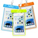 Waterproof Case, 3 Pack Ace Teah Universal Clear Transparent Waterproof Cellphone Case Cover, Dry Bag for Outdoor Activitie Swimming, Surfing, Fishing, Skiing, Boating, Beach - Blue, Green, Orange
