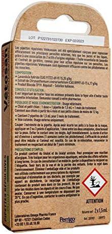 CLÉMENT THÉKAN VÉTOSAN pipettes répulsives pour chiot et petit chien – Actifs 100% d'origine végétale - Anti-puces et anti-tiques – 2 pipettes