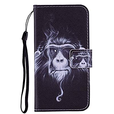 WaiterQA iPhone X Flip Case Leather Cover Card Holders Mobile Phone case Luxury Business Kickstand Cute Pattern Colorful Card Slot Magnetic (Chimpanzee): Toys & Games
