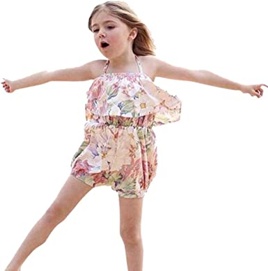 UK Newborn Baby Girls One Print Birthday Romper Clothes Outfit Summer Jumpsuit