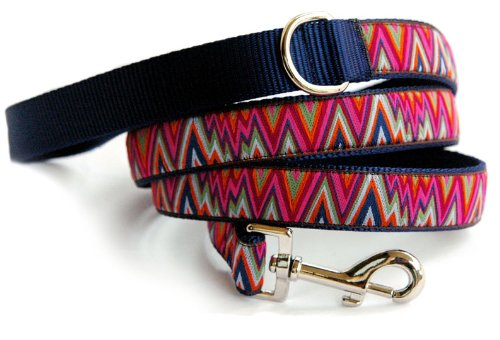 """Chevron Dog Leash : Multi Vivid colored chevron pattern ribbon pet lead for small dogs to large dogs. Unique high quality designer handmade cool dog leash. Made in the U.S.A. 4ft long 5/8"""" wide"""