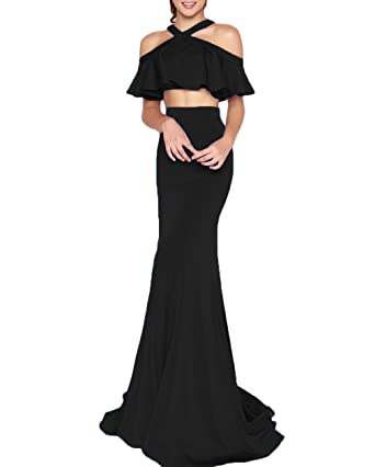 Z Sexy Halter 2 Piece Prom Dresses Ruffles Long Mermaid Party Gowns Evening Dresses