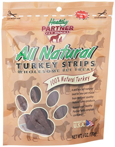 Healthy Partner Turkey - Healthy Dog ALL NATURAL TURKEY JERKY 6 oz MADE IN USA (4 BAGS)