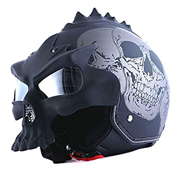 1STorm Motorcycle Street Bike Scooter Open Face Helmet; 3D Skull Gray Black
