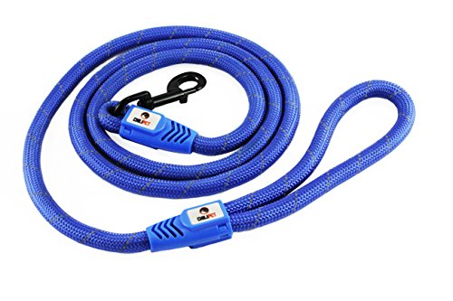 Comfortable & Shock Absorbing Blue 6ft Dog Rope Leash Feature Soft Hand Loop Great for Walking Running Hiking Climbing & Training Leash with Safety Reflective Stitching For Medium & Large Sized Dogs ()