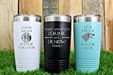 Game of Thrones Gift Idea - Personalized Vacuum Insulated 20 ounce Tumbler with Lid- Stainless Steel Mug
