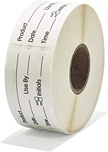 L LIKED Use by 1 x 2 Inch Dissolvable Labels for Food Rotation Prep roll of 500