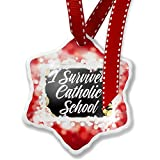 Christmas Ornament Floral Border I Survived Catholic School, red - Neonblond