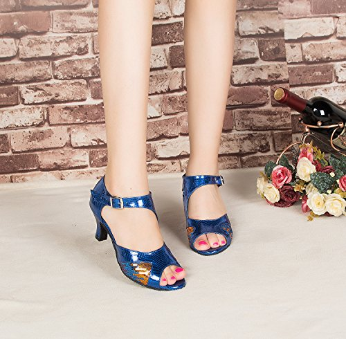 Ballroom Sandals Morden Party Leather Tango Professional PU Peep Womens Multicoloured Blue CRC Stylish Wedding Toe Snakeskin Sequin Dance wqAfpaBxz
