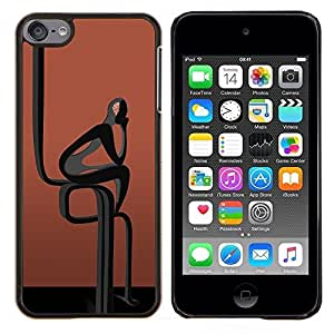 LECELL--Funda protectora / Cubierta / Piel For Apple iPod Touch 6 6th Touch6 -- Resumen Hombre Negro --