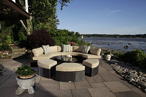 Madbury Road Santorini 9 Piece Outdoor Sectional/Daybed Set - 9 Piece set Includes a five piece circular outdoor sectional, three ottmans, coffee table and cushions (throw pillows not included) Modular style round sectional couch forms a half circle and can easily be transformed into a daybed by turning the ottomans around All-weather wicker material is resistant to the elements and resists mildew and fading - patio-furniture, patio, conversation-sets - 51hK9A5Rs5L -