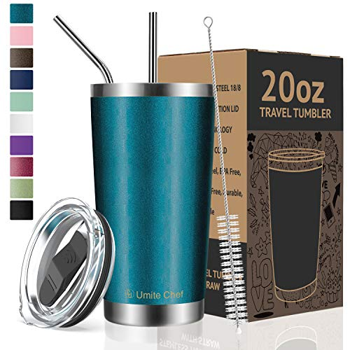 Umite Chef 20oz Tumbler Double Wall Stainless Steel Vacuum Insulated Travel Mug with Lid, Insulated Coffee Cup, 2 Straws, for Home, Outdoor, Office, School, Ice Drink, Hot Beverage (20 oz, - Ounce Beverage 20