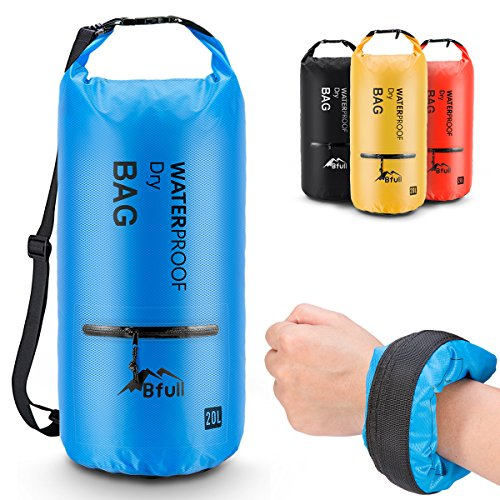 BFULL Waterproof Dry Bag 5L/10L/20L/30L/40L [Lightweight Compact] Roll Top Water Proof Backpack with 2 Exterior Zip Pocket for Kayaking, Boating, Duffle, Camping, Floating, Rafting, Fishing (Blue) (Nylon Roll Bag)