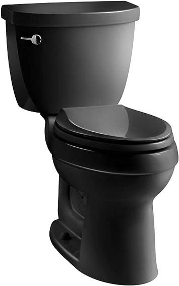 Kohler K 3589 7 Cimarron Comfort Height Elongated 1 6 Gpf Toilet With Aquapiston Technology Less Seat Black Black Two Piece Toilets Amazon Com