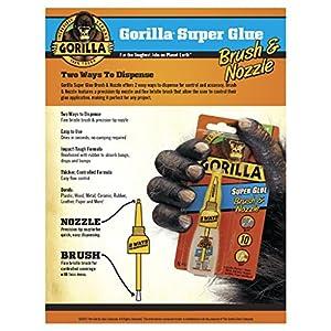 Gorilla Super Glue Brush & Nozzle, 10 g, Clear