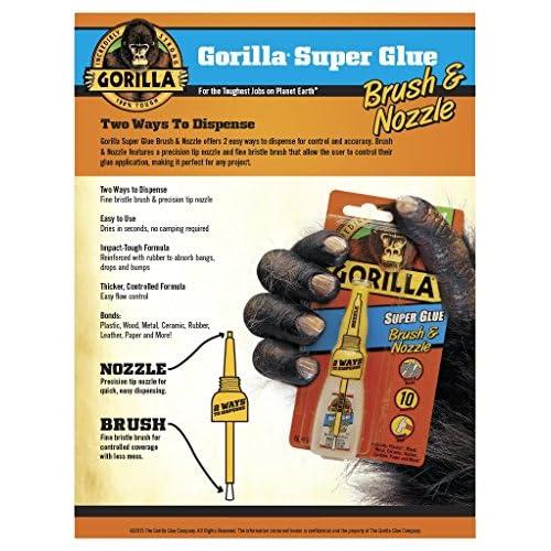 Gorilla 7500101  Super Glue Brush & Nozzle, 10 g, Clear