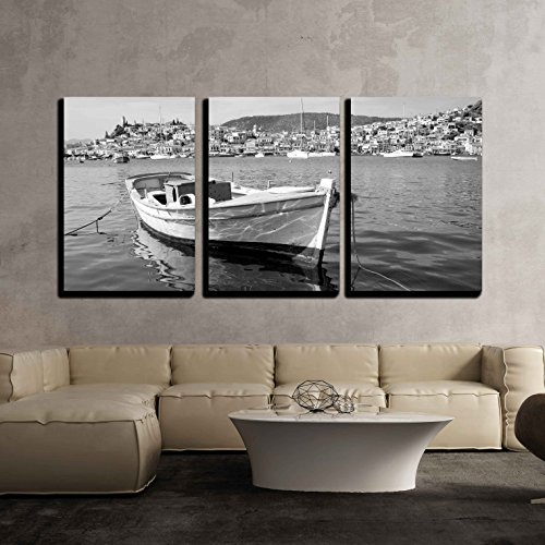 Wall Postcard - wall26 - 3 Piece Canvas Wall Art - View of Poros Island, Greece and Boat in Black and White - Modern Home Decor Stretched and Framed Ready to Hang - 24