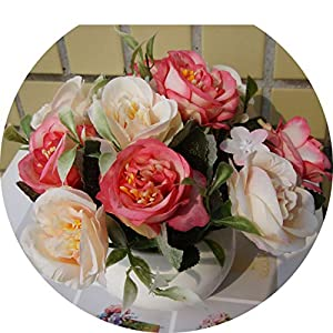 BUOP Assorted Colored Roses, Potted Tabletop Artificial Flower Plant (Pink) 11