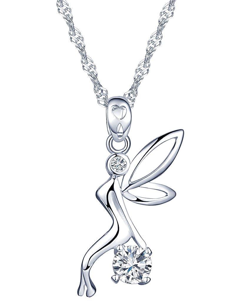 Yumi Lok Hada Plata de ley 925con Circonita diseño único ángel colgante collar cadena con colgante para mujer Chica Yumilok Jewelry Y30082
