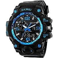 alignmentpai Men's Sports Waterproof Wrist Watch Military Dual Display LED Backlight Analog Quartz Wrist Watches Blue