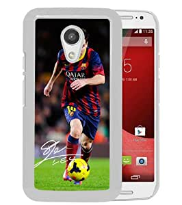 Recommend Design Soccer Player Lionel Messi 03 White Motorola Moto G 2nd Generation Phone Case