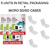 5 PACK - SanDisk Ultra 16GB MicroSDHC Memory Flash Card UHS-I Class 10 Micro SD SDHC Read Speed up to 80MB/s 533X With Adapter SDSQUNC-016G-GN6MA Wholesale Lot + ( 5 Cases )