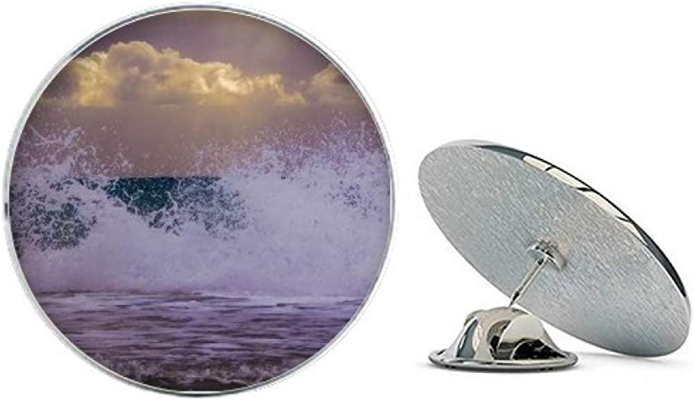 Ocean Sea Wave Spray Science Nature Picture Round Metal Tack Hat Pin Brooch