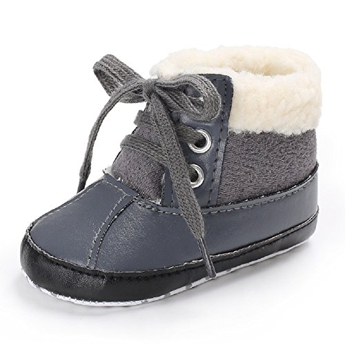 Meeshine Baby Boys Girls Plush Lace Up Snow Boots Newborn Infant Toddler Winter Warm Non-Slip Soft Sole Prewalker Crib Shoes(Large(12-18 Months),Gray) (Timberland Infant Boots)