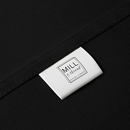 Mill & Thread - 6' Premium Fitted Tablecloth for 72'' x 30'' Rectangular Table - Wedding/Banquet / Trade Show - Polyester Cloth Fabric Cover - Black by Mill & Thread (Image #3)