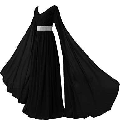 Kivary V Neck Long Sleeves Chiffon Goddess Prom Vintage Evening Dresses Black US 2
