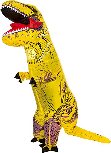 Splurge Worthy Toys and Games Inflatable Dinosaur Costume - Adult Giant Jurassic T-Rex Blow Up Halloween Costume By (Yellow)