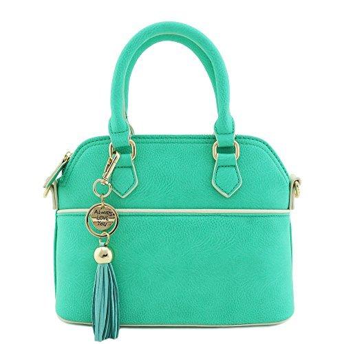 Mini Dome Satchel Crossbody Bag with Tassel Accent (Mint)