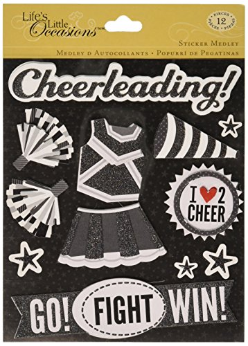 K&Company Life's Little Occasions Sticker Medley, Black and White Cheerleading