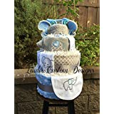 Boy Diaper Cake Embroidered Elephant