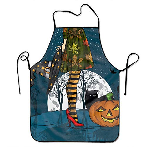 Water Resistant Bib Apron String Adjustable Aprons Halloween Night Witch with Wizard Hat Snapapron for Men/Women