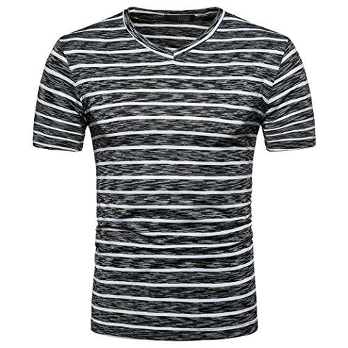 Bluestercool Hommes Été Casual Rayé Impression Col en V Manche Courte Tops T-shirt Noir