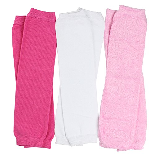 juDanzy 3 Pair Baby Girl Leg Warmers Solid Hot Pink, Solid White, Cozy Pink(One Size)