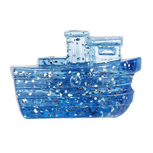 BeadTin Light Sapphire Sparkle 25mm Boat Pony Beads (24pcs) ()