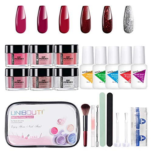 Dipping Powder Nail Starter Kit - Red Glitter 6 Colored Dip Powder System Nail Kit, Acrylic Dipping System for French Nail Manicure Nail Art Set Essential Kit All-in-One Portable Travel kit (P-04)