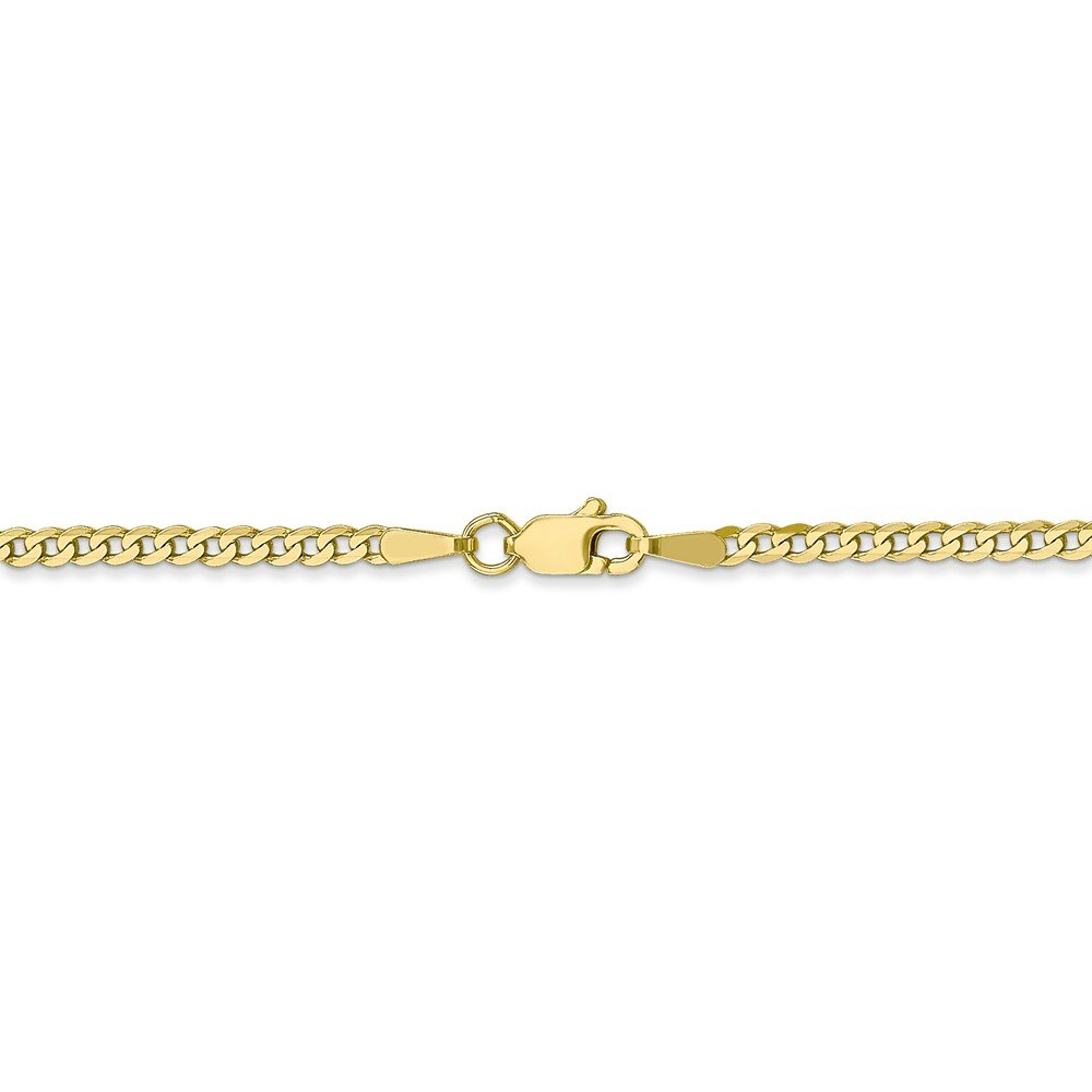 2.2 mm 10k Yellow Gold Flat Beveled Curb Chain Ankle Bracelet - 10 Inch