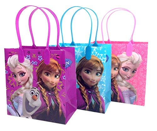 Disney Nickelodeon Marvel Birthday Goodies Gift Favor Bags Party Supplies - 12 Pieces (Frozen - Pink & Blue & Purple) -
