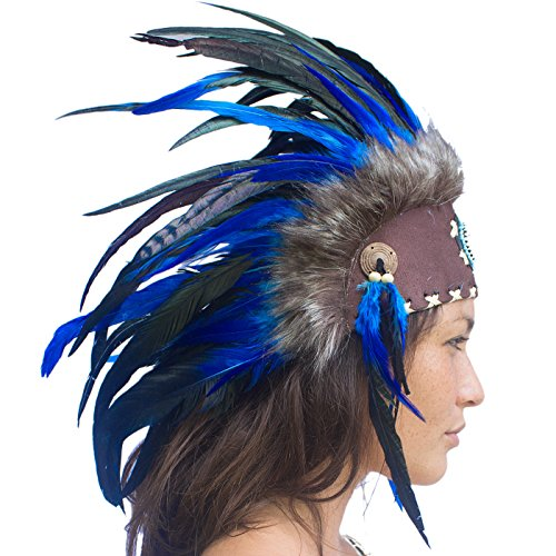 Gypsy Costumes Men (Unique Feather Headdress- Native American Indian Inspired- Handmade by Artisan Halloween Costume for Men Women with Real Feathers - Dark Blue with beads)