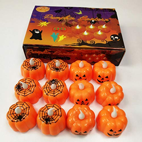 Halloween Decorations Candles Tea Lights, Battery Operated, Flickering Flameless (12PCS) by Friendship Shop (Image #5)