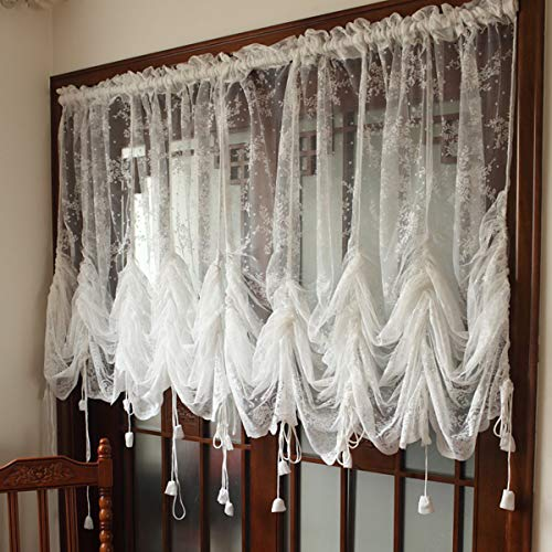 DOKOT White Lace Sheer Balloon Curtains Roman Embroidered Tie Up Ruffle Valance