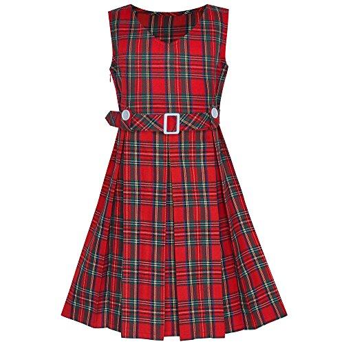 Girls Dress Red Tartan Button Back School Pleated Hem Size 12 ()