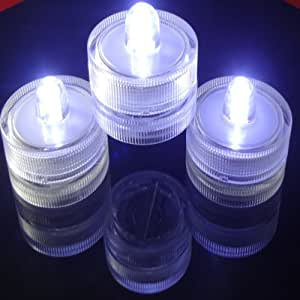 Waterproof Led Lights Battery Operated Lights for Weddings~ 12 NEW~Candle LED Waterproof Lights ~WHITE~Wedding~ Submersible LED tea Lights For Wedding Centerpieces~ Anniversaries~LED Party Lights~LED Yard Lights~LED night Lights for kids And More